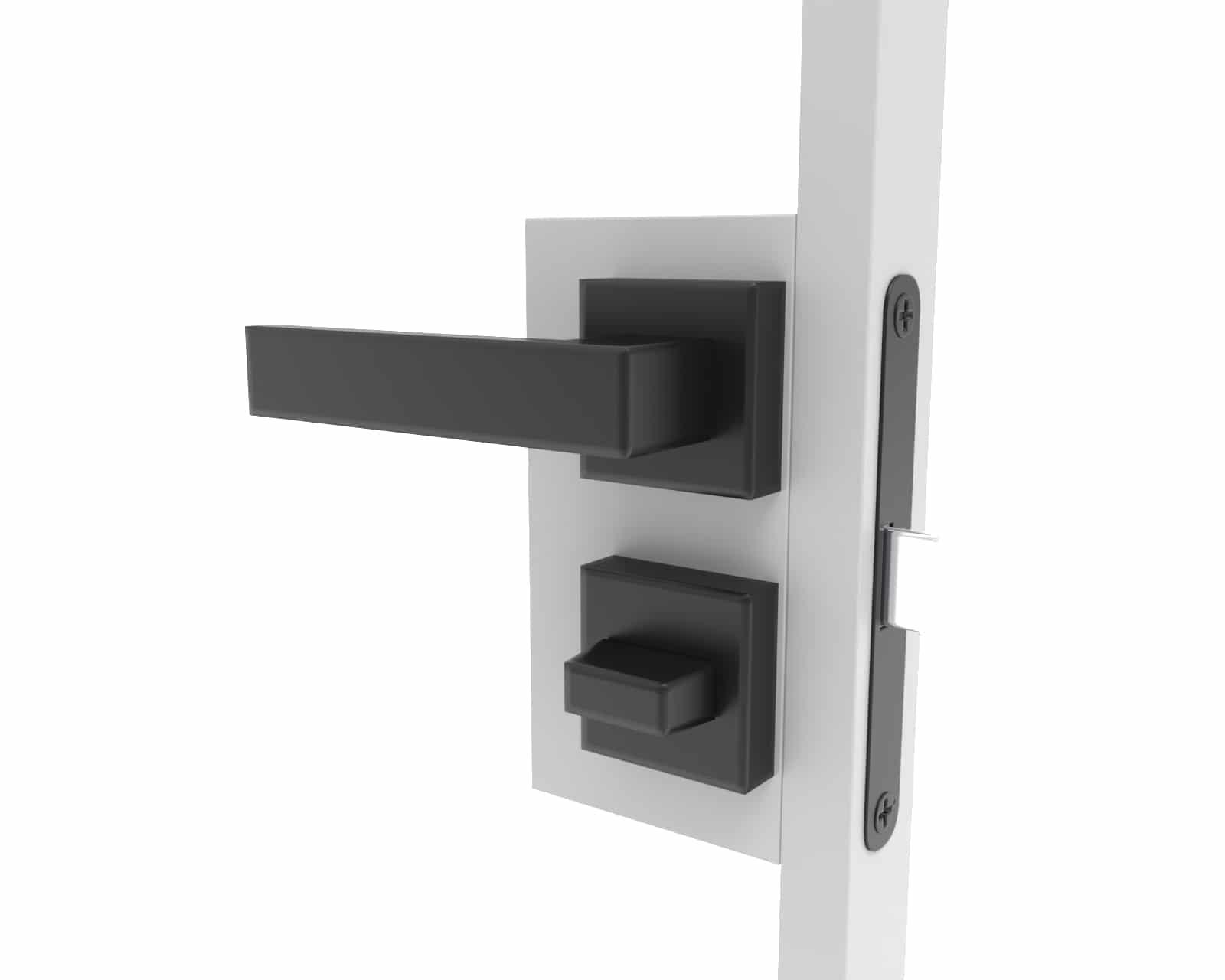 Türklinke für Stahltür mit Glas im Badezimmer